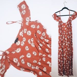 New Look Rust Orange Floral Open Shoulder Maxi